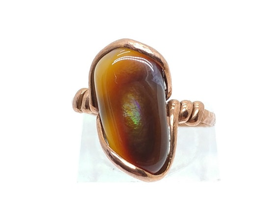 Rare Gemstone Ring | Fire Agate Ring | Hammered Copper Ring Sz 7.25 | Mexican Fire Agate| Fire Agate Jewelry | Gift For Her | Rustic Ring
