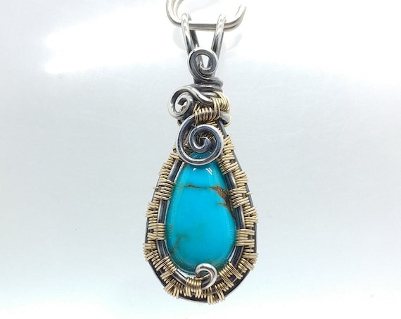 Turquoise Pendant Necklace | Antiqued Silver & Gold Filled Pendant | Wire Wrapped Jewelry | Turquoise Necklace for Woman | Morenci Mine