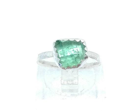 Green Blue Tourmaline Crystal Ring | Sterling Silver Ring Sz 5.5  | Raw Blue Tourmaline Ring | Raw Crystal Ring | Uncut Gemstone Ring