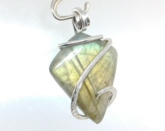 Kite Shaped Orange Gold Green Flash Labradorite Pendant in Hammered Sterling Silver Pendant Necklace a Perfect Gift for Kite Lovers