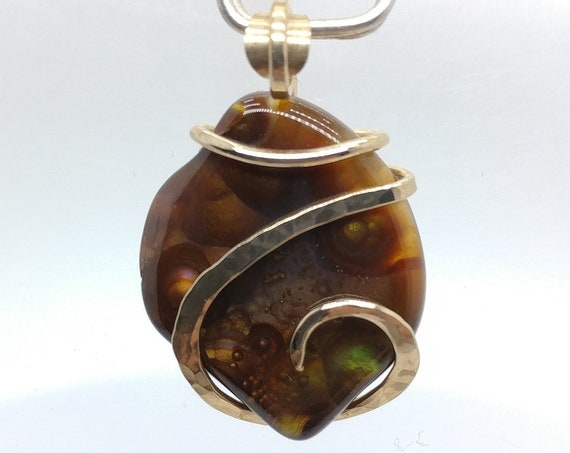 Handmade Rare Stone Pendant | Mexican Fire Agate Pendant | Fire Agate Necklace | 14kt Yellow Gold Filled | Fire Agate Jewelry | Gift for Her