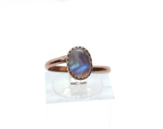 Simple Moonstone Ring | Rainbow Moonstone Ring | Copper Ring Sz 6 | Simple White Ring | June Birthstone Ring | Blue Moonstone
