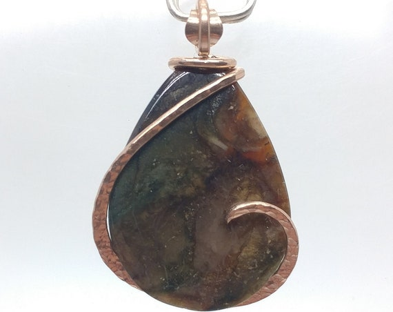 Mountain in the Moonlight | Morrisonite Jasper Pendant | Picture Jasper Pendant | 14kt Rose Gold Filled Pendant | Picture Jasper Pendant