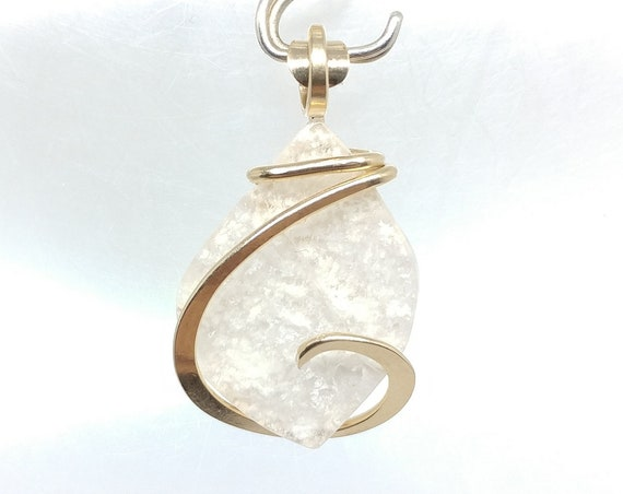 Delicate White Clouds Stinkingwater Plume Agate Necklace Pendant in 14kt Yellow Gold Fill a Rare Stone Pendant Mined in Oregon
