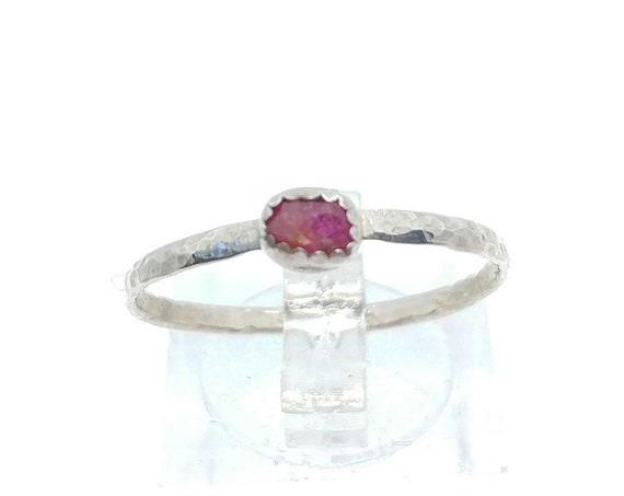 Raw Red Ruby Stacking Ring in Sterling Silver Sz 9.5