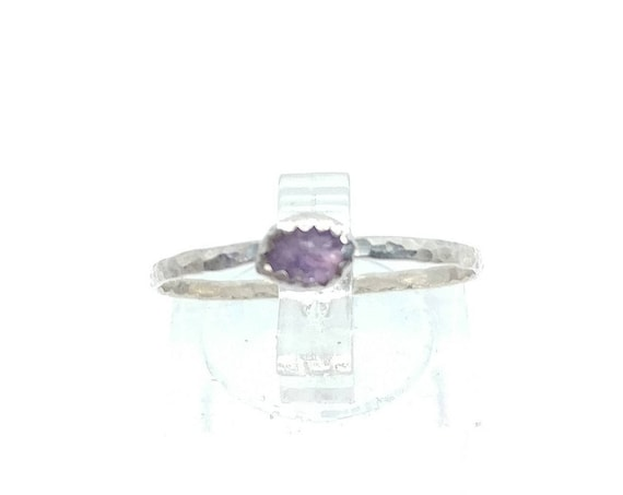 Purple Sapphire Stacking Ring | Sterling Silver Ring Sz 8.5 | Raw Sapphire Ring | Raw Crystal Stackable Ring | Purple Sapphire Stacker Ring