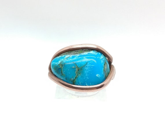 Real Blue Turquoise Stone Ring in Hammered Copper Sz 10 One of Our Best Selling Items
