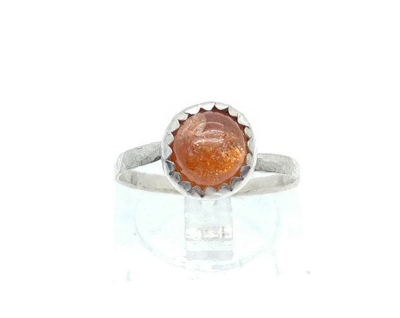 Simple Sunstone Ring | Indian Sunstone Ring | Sterling Silver Ring Sz 6.5 | Confetti Sunstone Ring | Simple Orange Gemstone Ring