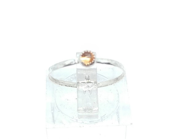 Sunshine Yellow Sapphire Stacking Ring in Sterling Silver Ring Sz 5.75 September Birthstone Jewelry
