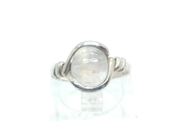 Rainbow Moonstone Ring | Sterling Silver Ring Sz 4.75 | Simple White Ring | June Birthstone Ring | Simple Stone Ring | Simple Moonstone Ring