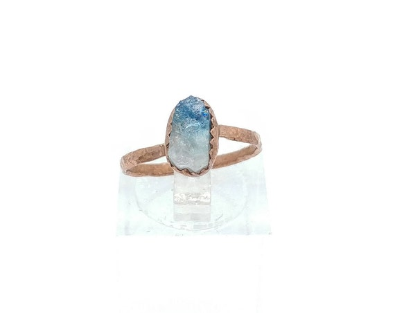 Raw Crystal Ring | Raw Tourmaline Ring | Copper Ring Sz 5.5 | Rough Tourmaline Ring | Rustic Womens Ring | Blue Pink Tourmaline Crystal Ring
