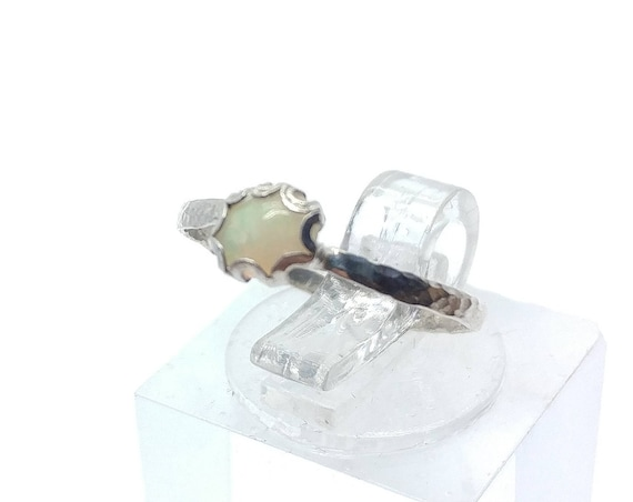 Tiny Precious Opal Ring in Sterling Silver Ring Sz 4.5