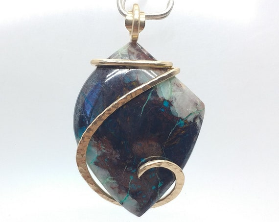 Arizona Shattuckite Chrysocolla Pendant | 14kt Rose Gold Filled Pendant | Gemstone Pendant | Chrysocolla Jewelry | Natural Stone Pendant