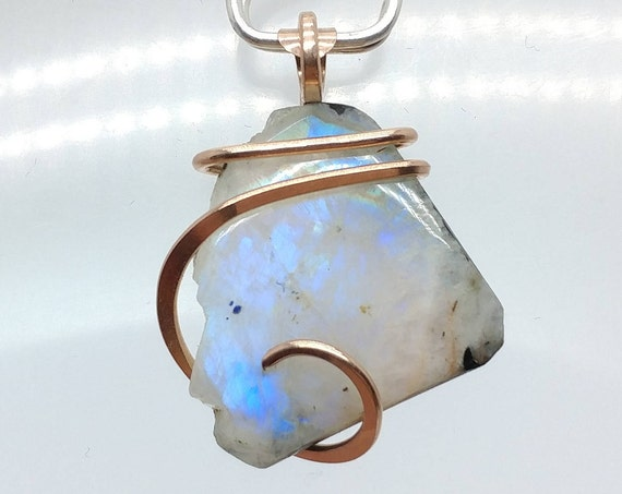 Raw Moonstone Pendant | Simple White Necklace | Rainbow Moonstone | 14kt Rose Gold Filled  | Rough Moonstone | Rustic Wedding Necklace
