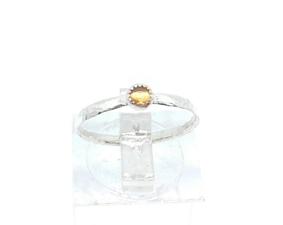 Sunshine Yellow Sapphire Stacking Ring in Sterling Silver Ring Sz 6 September Birthstone Jewelry