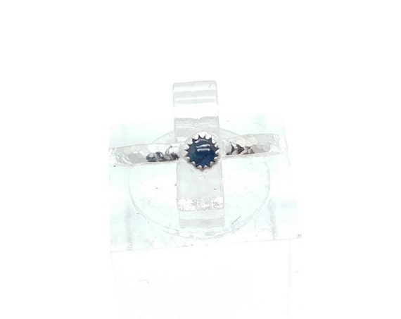 Blue Sapphire Stacking Ring in Sterling Silver Sz 7.25 September Birthstone Jewelry
