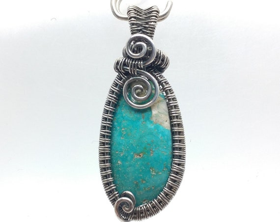 Turquoise Pendant Necklace | Antiqued Silver Pendant | Wire Wrapped Jewelry | Turquoise Necklace for Woman | Handmined in Nevada
