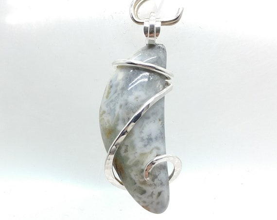Rare Moonrise Plume Jasper Stone Pendant Necklace in Hammered Sterling Silver Spiral One of Our Best Selling Items