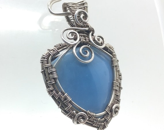 Owyhee Blue Opal Pendant Necklace | Wire Wrapped Sterling Silver | Mined in Oregon | Blue Gemstone Pendant