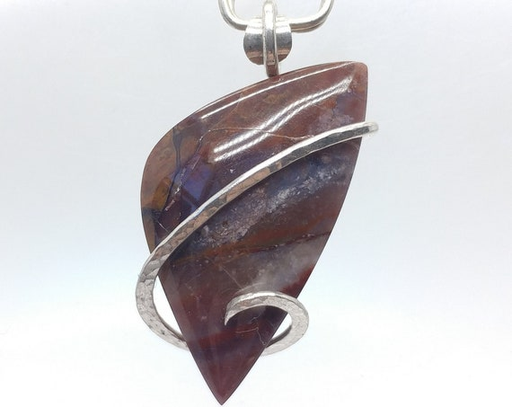 Jelly Bean Jasper Pendant | Haystack Butte Jasper Pendant | Sterling Silver Pendant | Purple | Pink | Orange | Mined in Oregon
