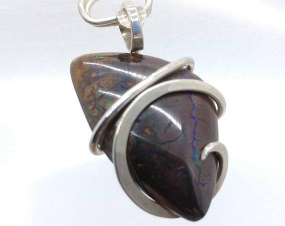 Australian Boulder Opal Pendant in Sterling Silver