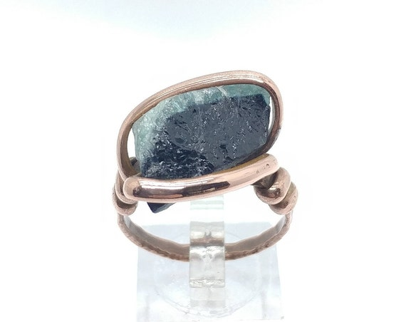 Mens Raw Tourmaline Crystal Ring in Copper Sz 9.25