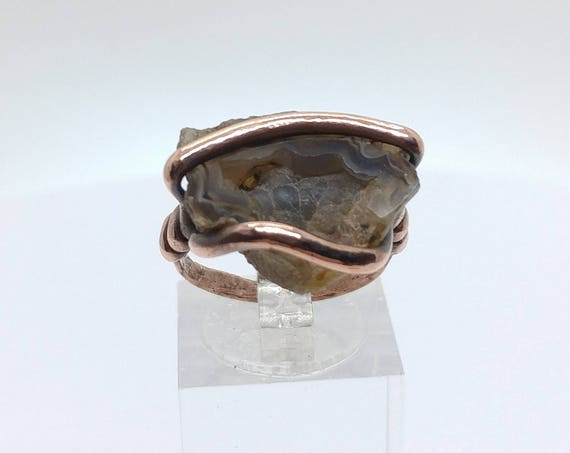 Raw Geode Ring | Copper Ring Sz 7 | Raw Stone Ring | Gift for Woman | Ring for Woman | Gift for Wife | Rustic Stone Ring | Rough Stone Ring