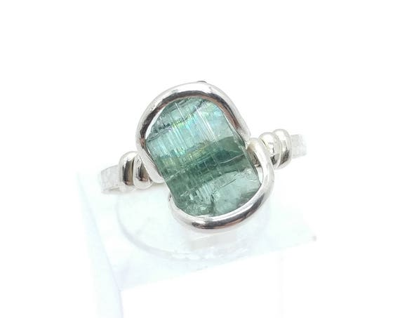 Raw Green Tourmaline Crystal Ring in Sterling Silver Sz 6.75