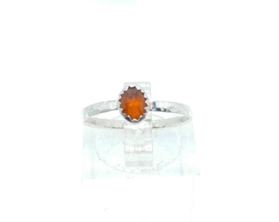 Rose Cut Orange Sapphire Ring in Sterling Silver Ring Sz 6