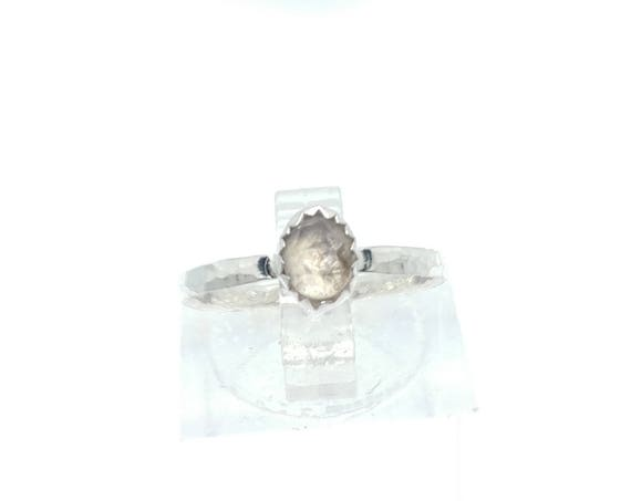 Rose Cut White Champagne Sapphire Ring in Sterling Silver Ring Sz 5