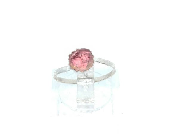 Raw Watermelon Tourmaline Crystal Ring in Sterling Silver Sz 5