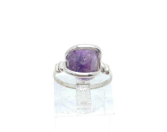 Raw Natural Amethyst Stone Ring in Sterling Silver Sz 7 a Delicious Dark Purple Crystal to Adorn Your Hand