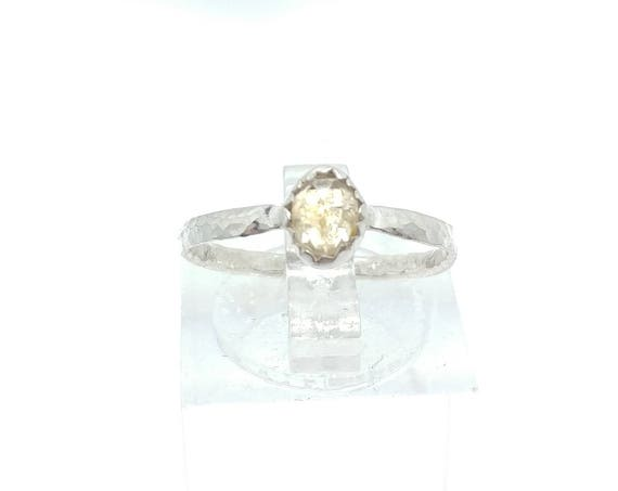 Rose Cut White Champagne Sapphire Ring in Sterling Silver Sz 6
