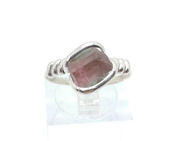 Raw Watermelon Tourmaline Crystal Ring | Sterling Silver Ring Sz 7.25 | Rough Tourmaline Ring | Uncut Gemstone Ring | Raw Tourmaline Jewelry
