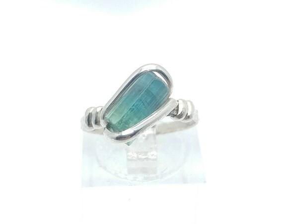 Tourmaline Crystal Ring | Sterling Silver Ring Sz 6  | Raw Blue Green Tourmaline Ring |  Raw Crystal Ring | Uncut Gemstone Ring | Teal