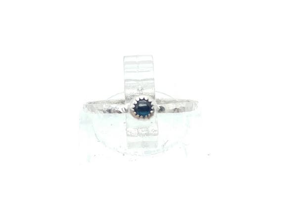 Dainty Blue Sapphire Stacking Ring in Sterling Silver Sz 5.5 September Birthstone Jewelry