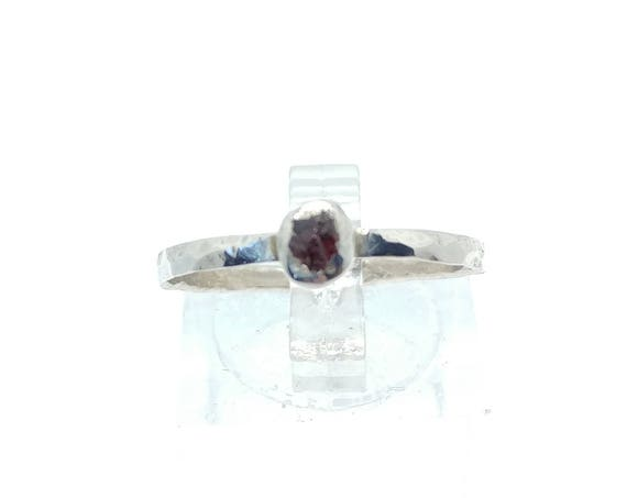 Raw Garnet Stacking Ring | Sterling Silver Ring Sz 8.5 | Raw Garnet Ring | Raw Stone Jewelry | Mixed Metal Ring | Garnet Stacker Ring