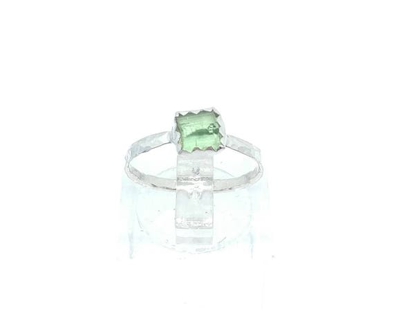 Green Tourmaline Crystal Ring | Sterling Silver Ring Sz 5  | Raw Green Tourmaline Ring | Raw Crystal Ring | Uncut Gemstone Ring