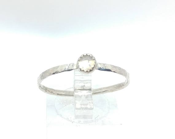 Moonstone Stacking Ring in Hammered Sterling Silver Band Sz 12