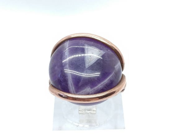 Chevron Amethyst Ring | Copper Ring Sz 5.5 | Genuine Amethyst Ring | Simple Amethyst Ring | Amethyst Jewelry for Wife