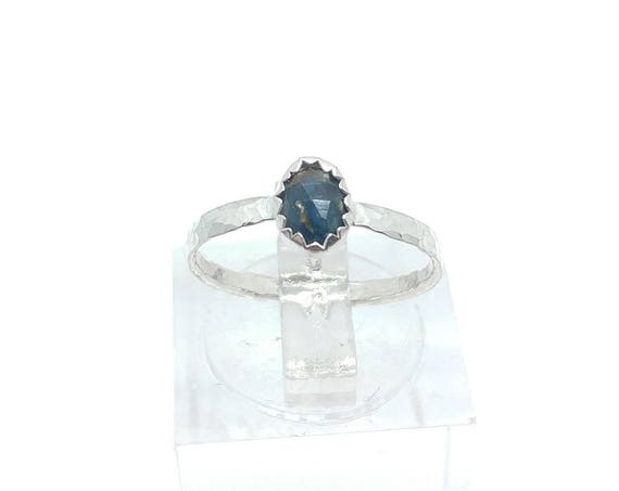 Rose Cut Blue Sapphire Ring in Sterling Silver Ring Sz 4