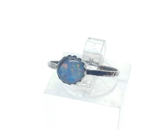 Tiny Australian Opal Gemstone Stacking Ring in Sterling Silver Sz 5.75