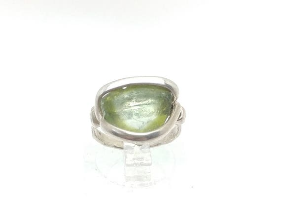 Tourmaline Slice Ring | Green Tourmaline Ring | Sterling Silver Ring Sz 4 | Tourmaline Ring | Tourmaline Crystal Jewelry | October Birthday