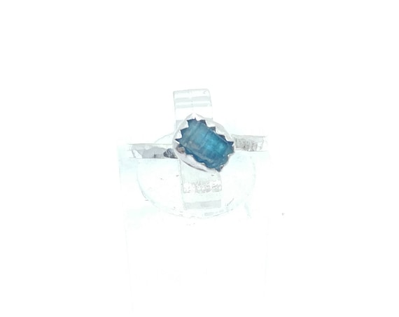 Raw Blue Tourmaline Crystal Ring in Sterling Silver Sz 5