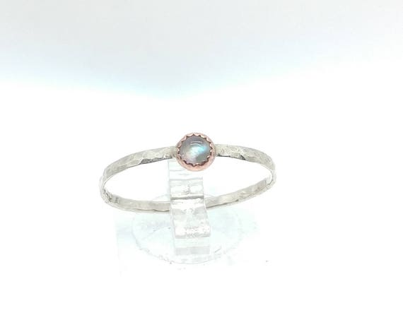 Tiny Moonstone Stone Mixed Metal Stacking Ring in Copper Sterling Silver Band Sz 11.5