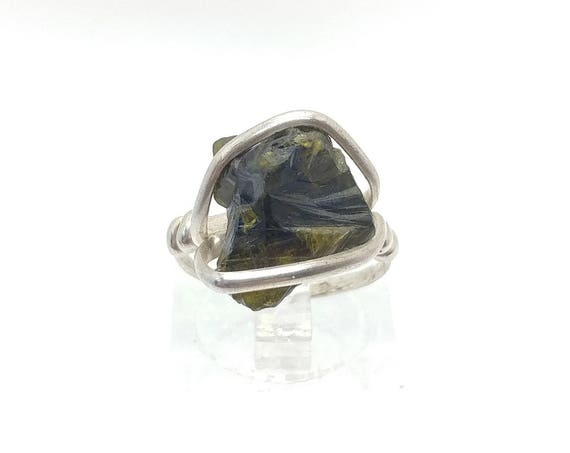 Raw Tourmaline Crystal Ring in Sterling Silver Sz 4.5