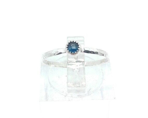 Blue Sapphire Stacking Ring in Sterling Silver Sz 5.5 September Birthstone Jewelry