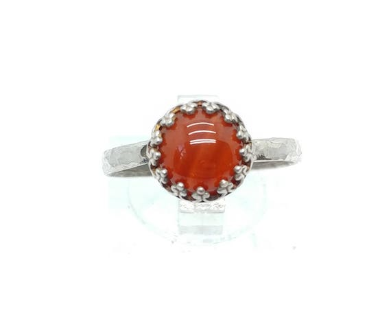 Natural Red Stone Ring | Sterling Silver Ring Sz 8 | Carnelian Stone | Carnelian Agate Ring | Carnelian Ring | Boho Ring | Gemstone Ring