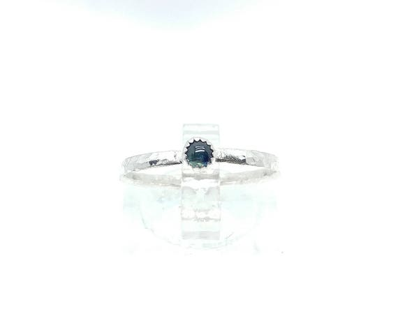 Tiny Blue Sapphire Stacking Ring in Sterling Silver Sz 7.25 September Birthstone Jewelry