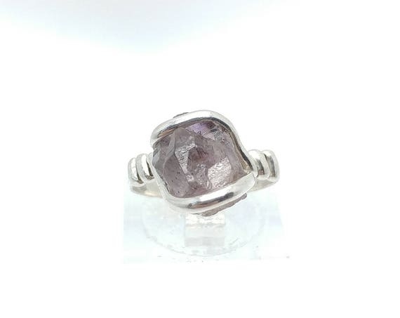 Melody Stone Crystal | Super Seven | Sterling Silver Ring Sz 5 | Amethyst | Smokey Quartz | Cacoxenite | Lepidocrocite | Geothite | Rutile